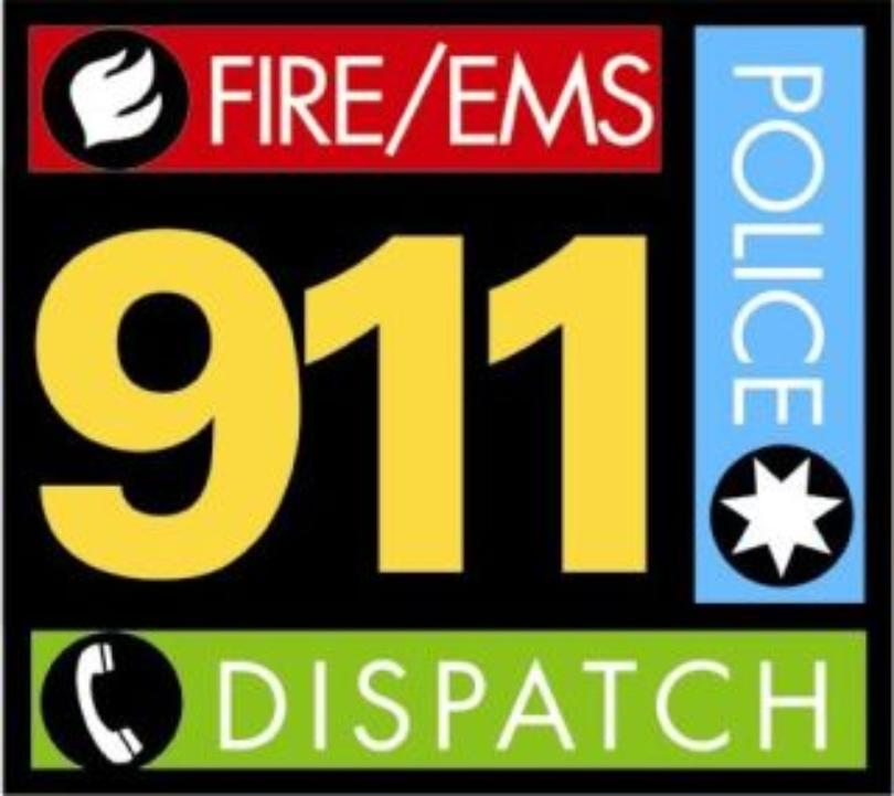 911 dispatch logo fire, police, EMS