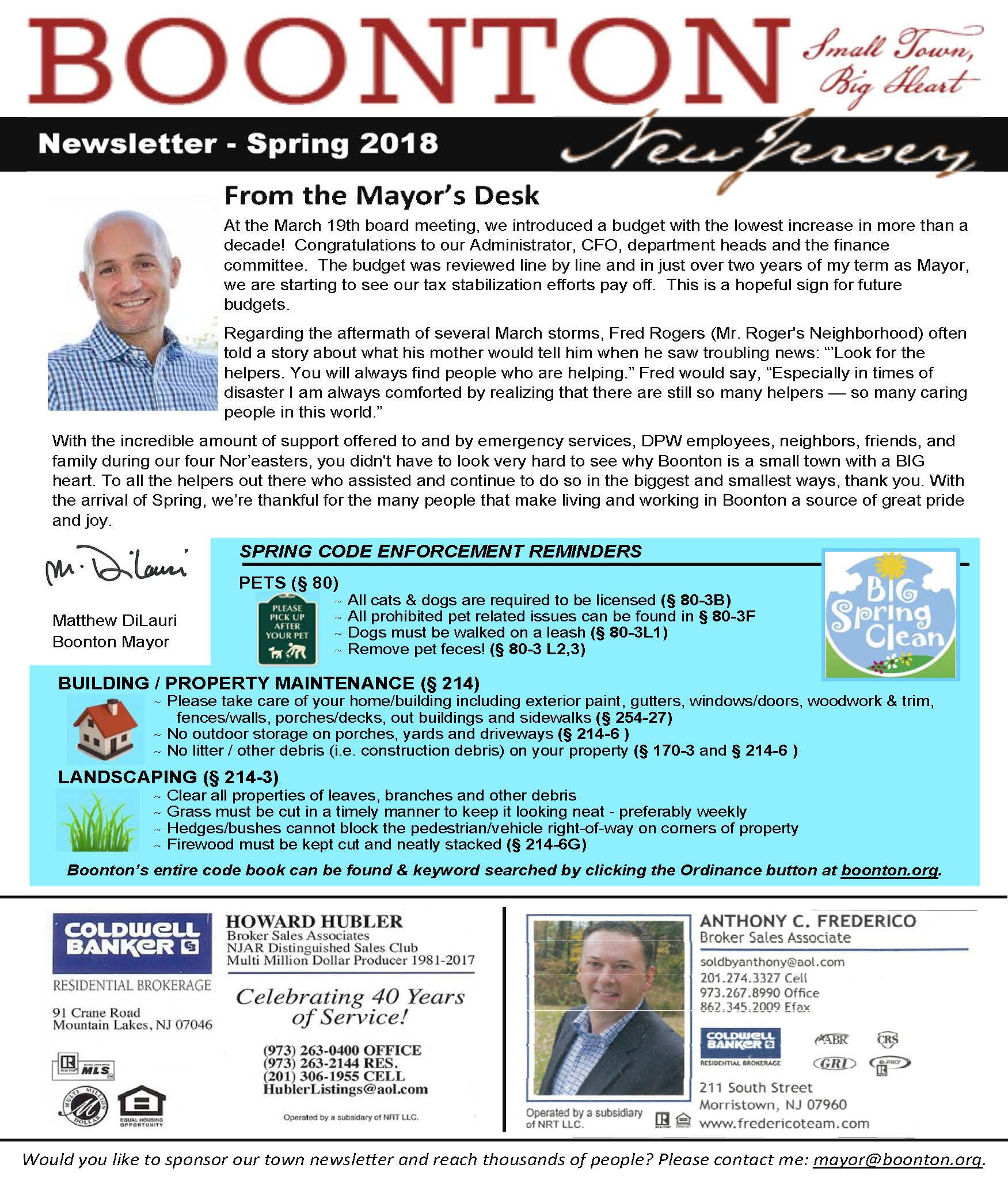Cover Photo of Mayor&#39s Spring Q2 2018 Newsletter