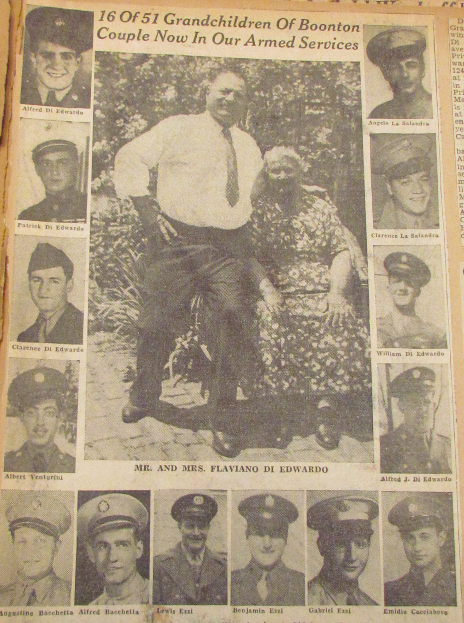 16 of 51 Grandchildren of Boonton Couple Now In Our Armed Services, detailed newspaper clip