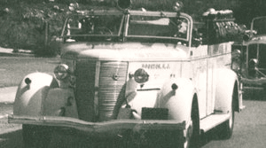 White Fire Engine in black and white photo