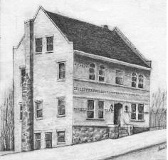 drawing of 3 story white building