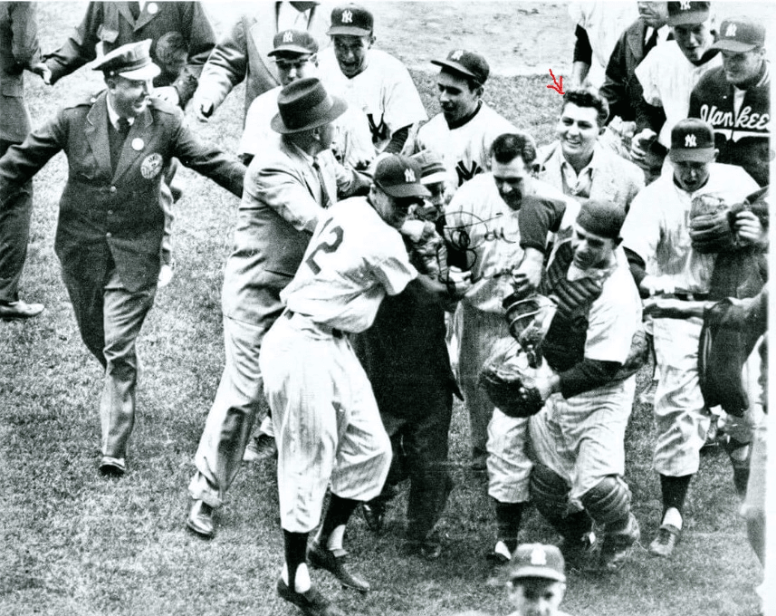 Yankee baseball players walking and smiling at each other