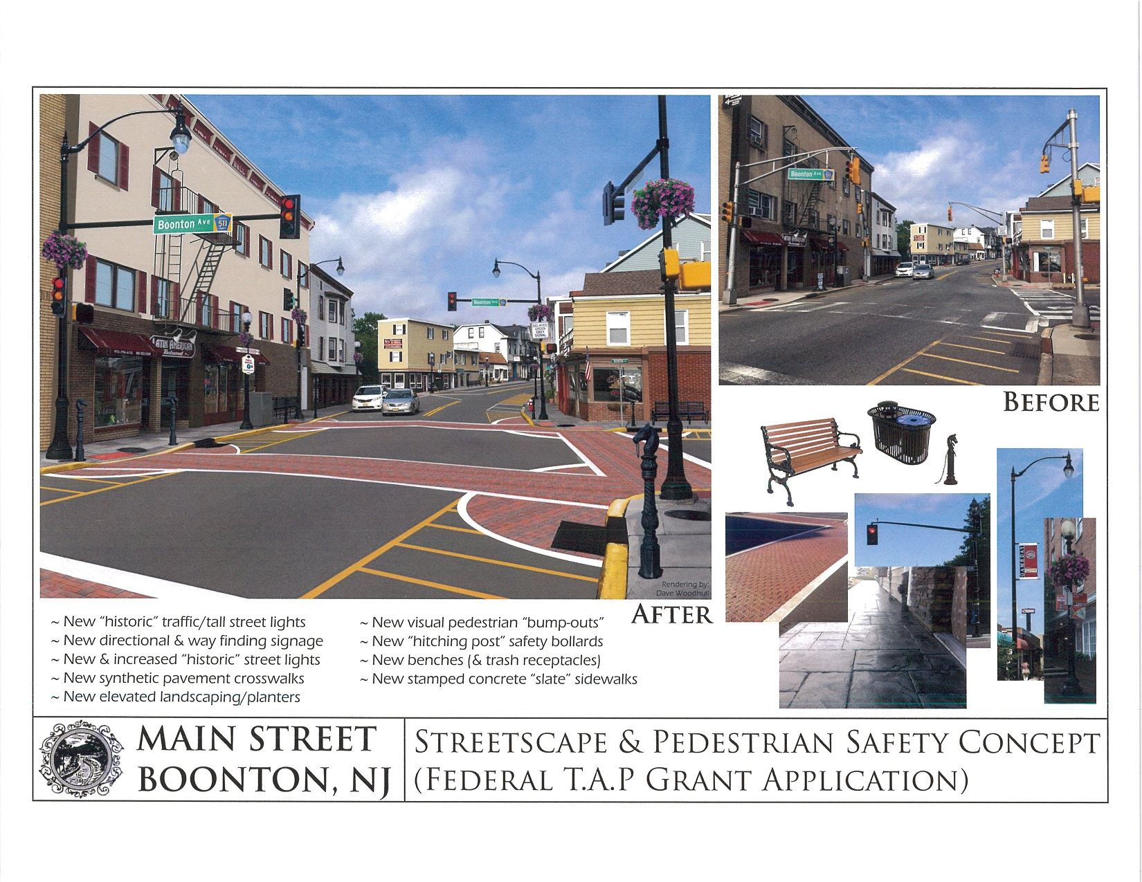 Color Rendering of streetscape and pedestiran safety concept
