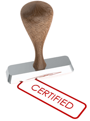 A rubber stamp with the word certified on it