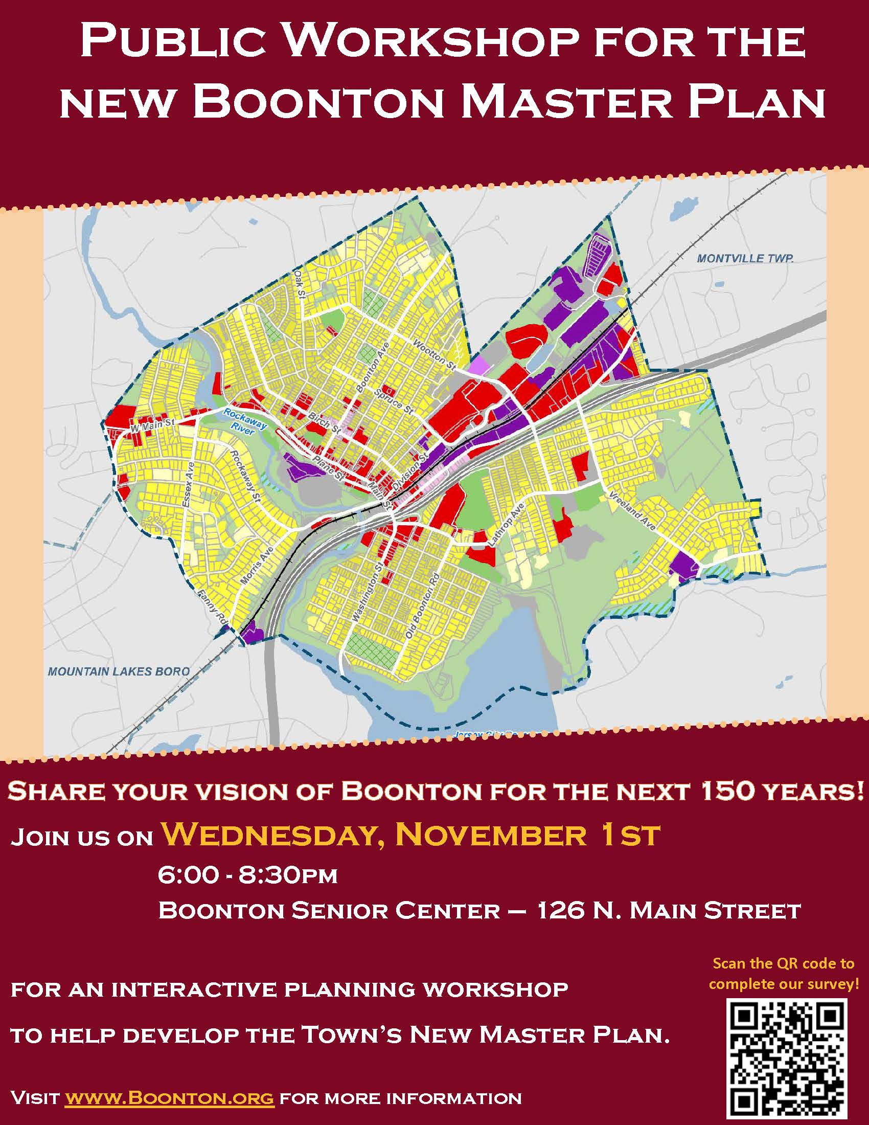 Boonton Workshop Flyer for November 1st event