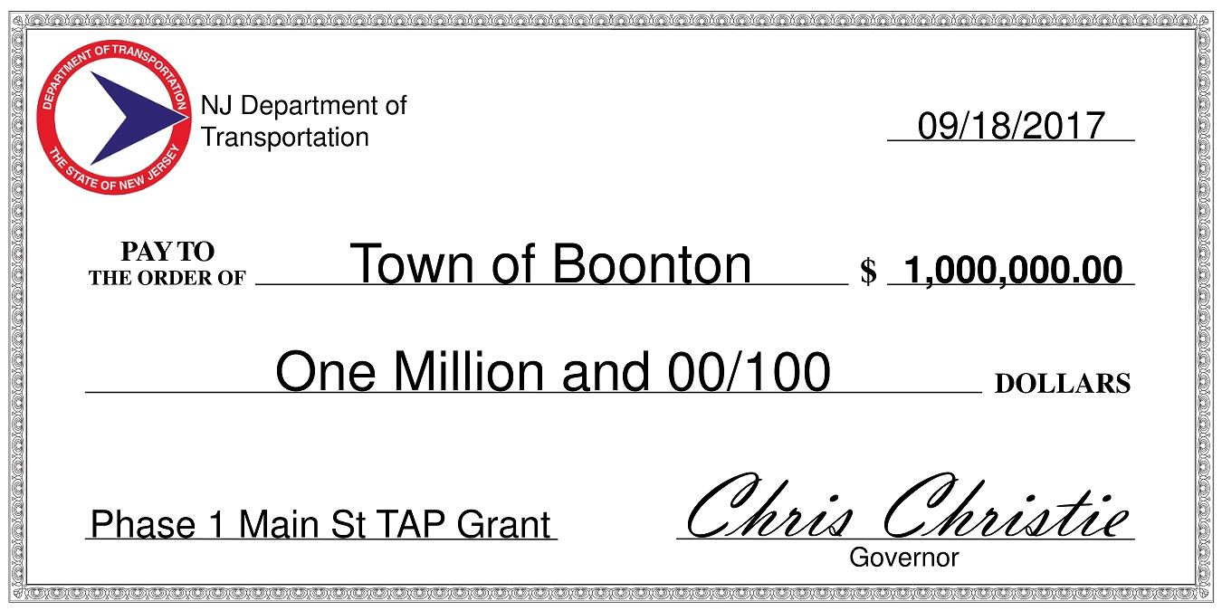 Big Check for $1 million to Boonton