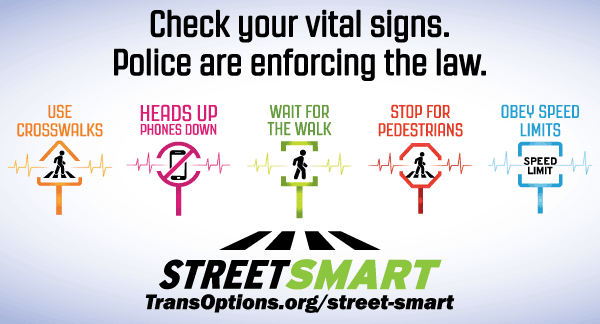 StreET SMART BANNER WITH SAMPLE SIGNS REGARDING PEDESTRIAN SAFETY