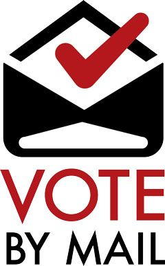 VOTE BY MAIL with image of envelop in RED