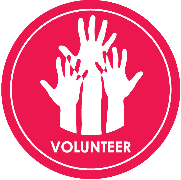volunteer icon in red with hands raised