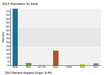 Population by race 2013_3 mile